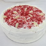 SIZE 30 CM RED VELVET CAKE Layers for red velvet sponge with masarpone and cream filling and a cream cheese icing.
